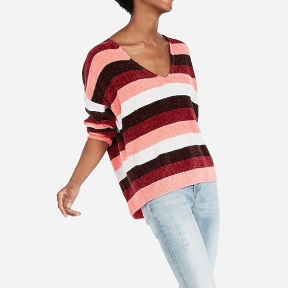 Express Sweaters - Striped Velvet Chenille Sweater